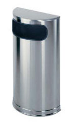 Rubbermaid FGSO8SSSPL 9-gal European Half-Round Indoor Receptacle - Plastic Liner, Satin Stainless