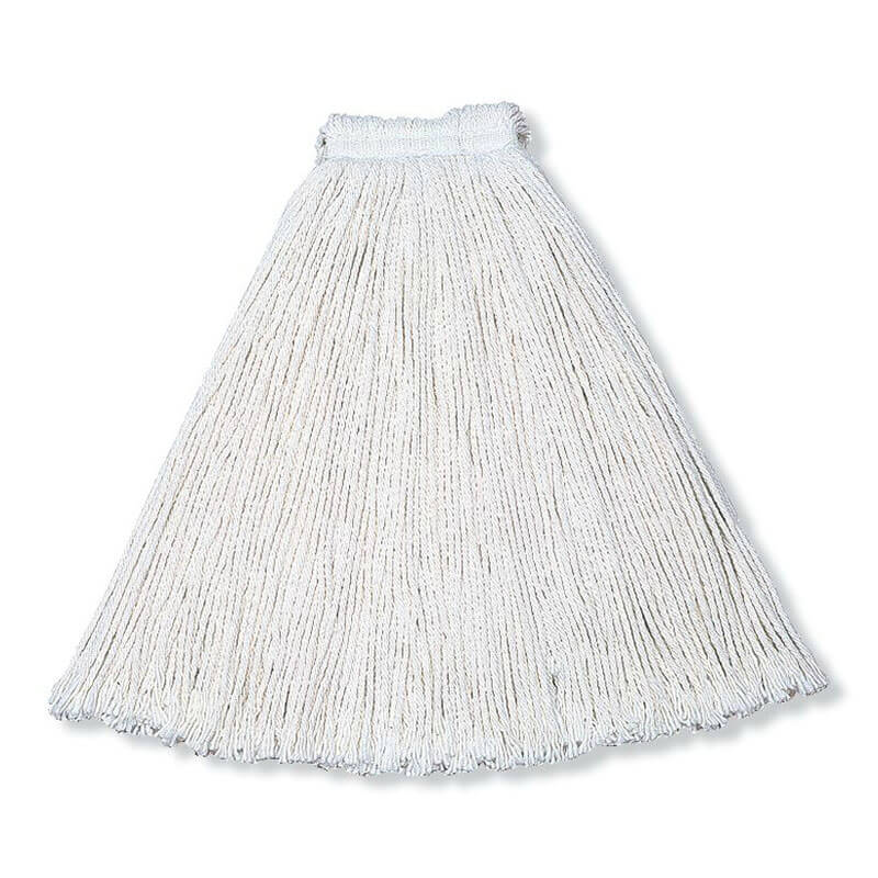 Rubbermaid FGV41600WH00 Economy Mop Head Rayon Yarn 1 in Headband For Chemicals White 13-16 oz Restaurant Supply