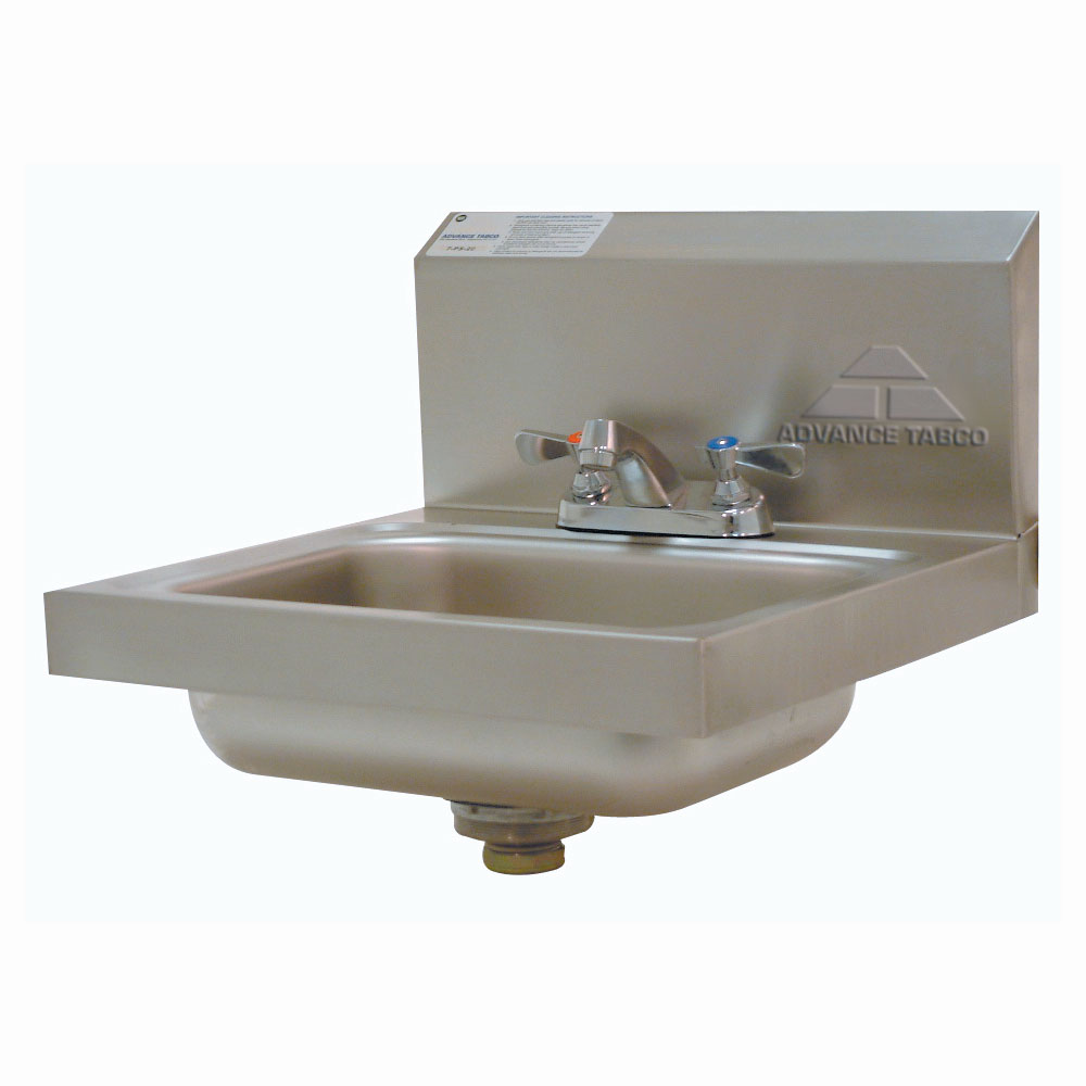 Advance Tabco 7-PS-20 Wall Mounted Hand Sink 14 x 10 x 5-in Deep 20 Gauge Stainless Restaurant Supply