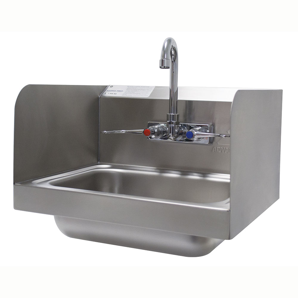 "Advance Tabco 7-PS-66W Hand Sink - Wall Model, Splash Mounted Faucet, 14x10x5"", 304 Stainless Steel"