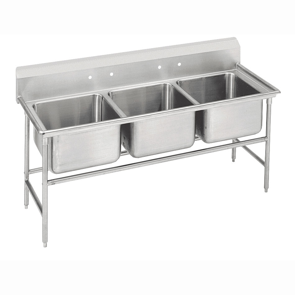 Advance Tabco 93-63-54 Sink (3) 24 x 18 x 12-in D NO Drainboard 16-Ga. Stainless Restaurant Supply