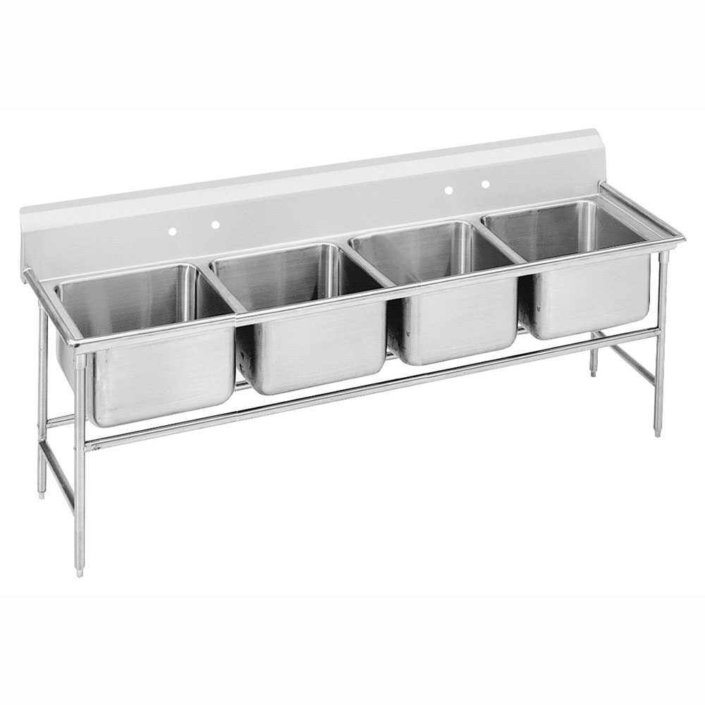 Advance Tabco 93-84-80 Sink (4) 28 x 20 x 12-in D NO Drainboard Restaurant Supply