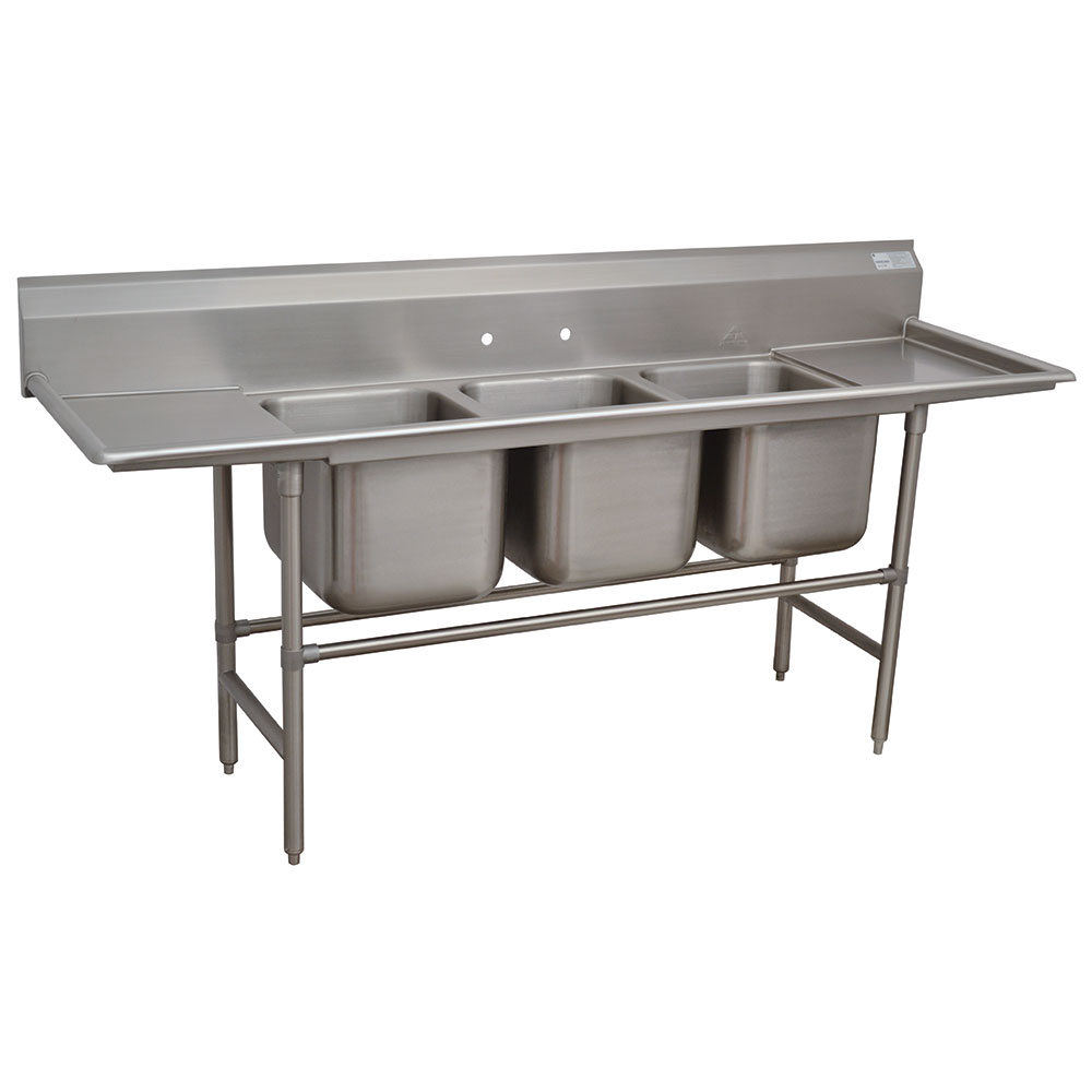 Advance Tabco 94-3-54-18RL Sink (3) 20 x 16 x 14-in D 18-in L & R Drainboard 14-Ga. Stainless Restaurant Supply