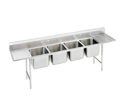 Advance Tabco 9-4-72-36RL Sink (4) 20 x 16 x 12-in D 36-in L & R Drainboard 18/304 Stainless Restaurant Supply