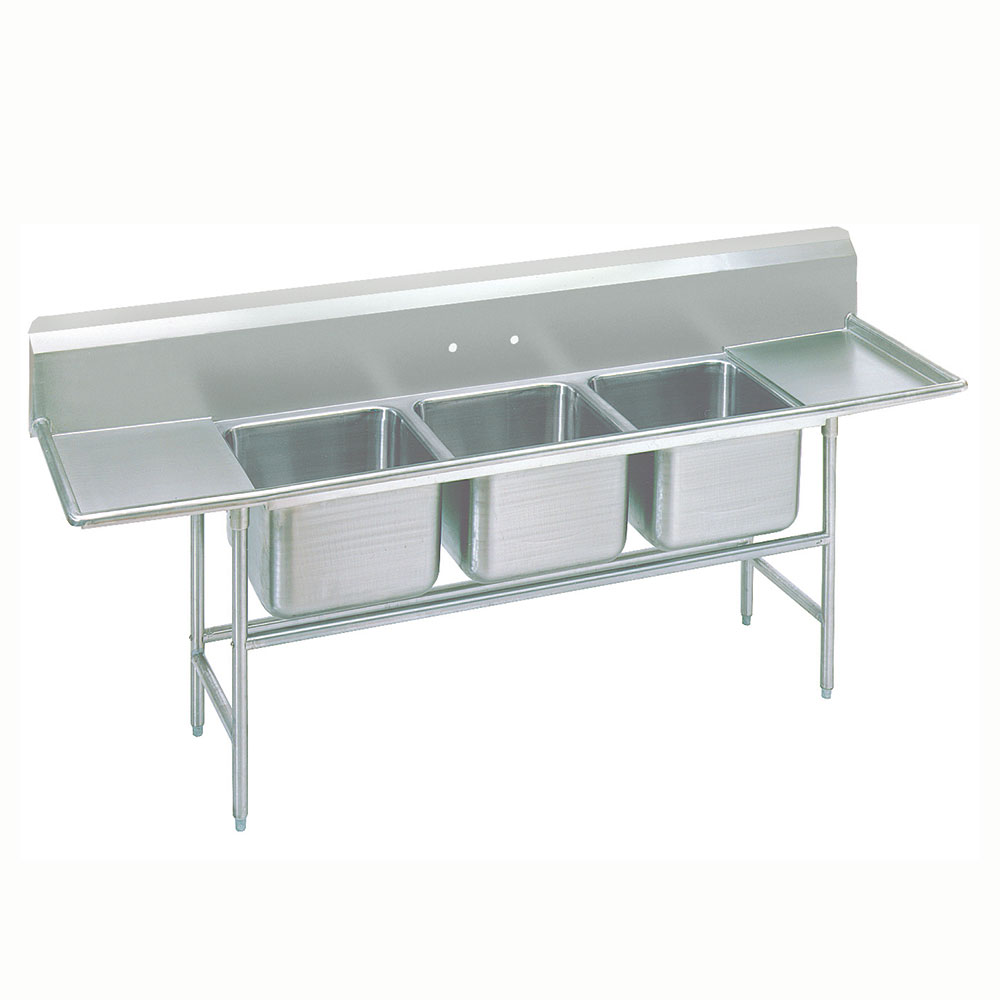 Advance Tabco 9-63-54-24RL Sink (3) 24 x 18 x 12-in D 24-in L & R Drainboard 18/304 Stainless Restaurant Supply