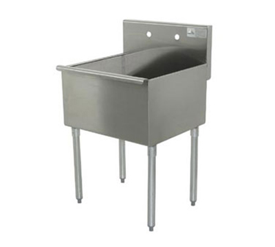 "Advance Tabco 4-1-36 Square Corner Kitchen Sink - 21x36x14"" Bowl, 16-ga 430-Stainless"