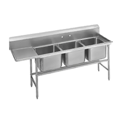 "Advance Tabco 94-23-60-18L Sink - (3) 20x20x14"" Bowl, 18"" Left Drainboard, 14-ga 304-Stainless"