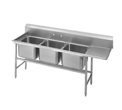 "Advance Tabco 94-23-60-24R Sink - (3) 20x20x14"" Bowl, 24"" Right Drainboard, 14-ga 304-Stainless"