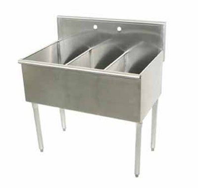 "Advance Tabco 4-3-36 Square Corner Kitchen Sink - (3) 21x12x14"" Bowls, 16-ga 430-Stainless"