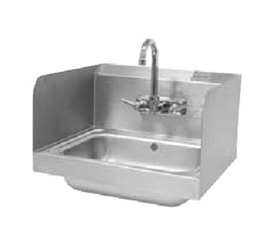 "Advance Tabco 7-PS-15 12"" Tall Side Splash for Hand Sinks - 10x14"" Bowls, 2-Sides, Splash Mount"