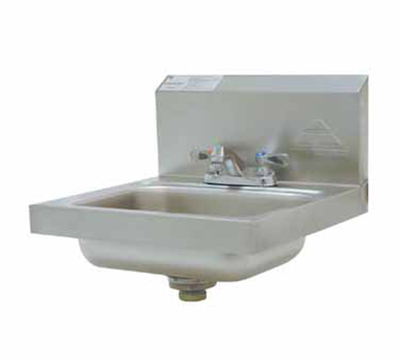 "Advance Tabco 7-PS-20 Wall Hand Sink - Deck Mount Faucet, 14x10x5"" Bowl, 20-ga 304-Stainless"