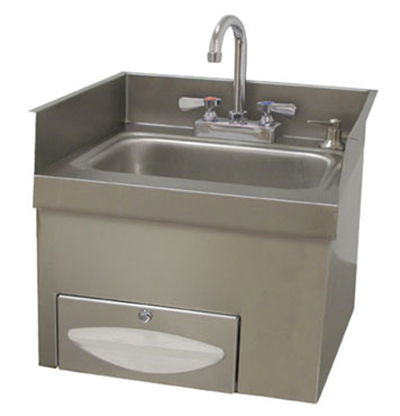 Advance Tabco 7-PS-42 Recessed Hand Sink - Gooseneck Faucet, Soap, Paper Towel Dispenser