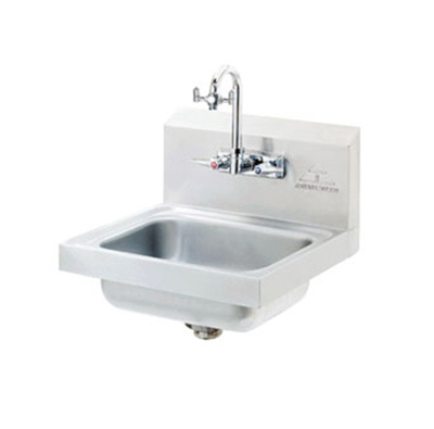 "Advance Tabco 7-PS-55 Wall Eye Wash Hand Sink - 14x10x5"" Bowl, Splash Mount Gooseneck, Basket Drain"