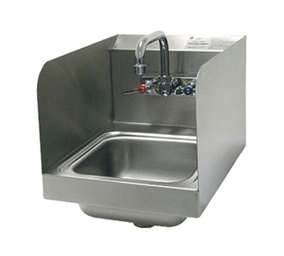 "Advance Tabco 7-PS-56 Wall Hand Sink - 9x9x5"" Bowl, Side Splash, Splash Mount Faucet"