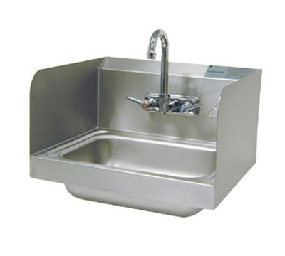 "Advance Tabco 7-PS-66 Wall Hand Sink - 14x10x5"" Bowl, Splash Mount Faucet, 2-Side Splash"