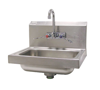 "Advance Tabco 7-PS-68 Wall Hand Sink - 14x10x5"" Bowl, Splash Mount Faucet, Wrist Blades, Basket Drain"