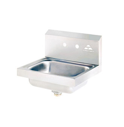 "Advance Tabco 7-PS-70 Wall Hand Sink - 14x10x5"" Bowl, 2-Splash Faucet Holes, Basket Drain"