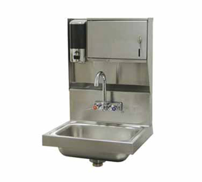 "Advance Tabco 7-PS-79 Wall Hand Sink - 14x10x5"" Bowl, Splash Mount Faucet, Soap, Towel Dispenser"