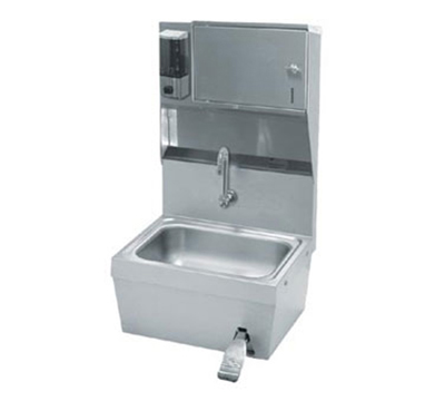 "Advance Tabco 7-PS-82 Wall Hand Sink - 14x10x5"" Bowl, Splash Mount Gooseneck, Knee Valve"