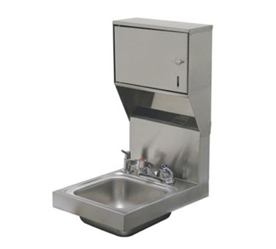 "Advance Tabco 7-PS-83 Wall Hand Sink - 9x9x5"" Bowl, Deck Mount Faucet, Flat Top Strainer"