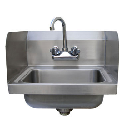 "Advance Tabco 7-PS-EC-SP Wall Economy Hand Sink - 14x10x5"" Bowl, Side Splashes, Splash Mount Faucet"