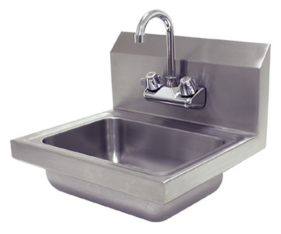"Advance Tabco 7-PS-EC Wall Economy Hand Sink - 14x10x5"" Bowl, Splash Mount Faucet, Basket Drain"