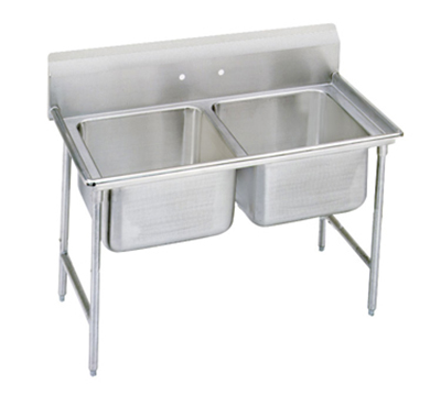 "Advance Tabco 9-42-48 Sink - (2) 24x24x12"" Bowl, 8"" Splash, 18-ga 304-Stainless"