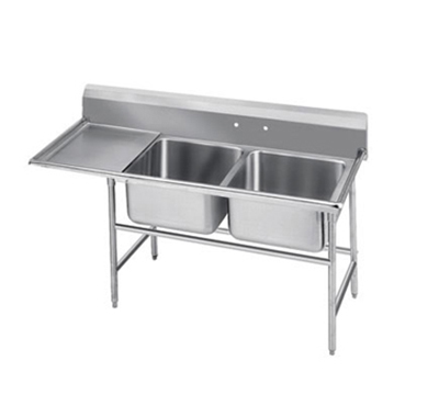 "Advance Tabco 93-22-40-18L Sink - (2) 20x20x12"" Bowl, 18"" Left Drainboard, 16-ga 304-Stainless"