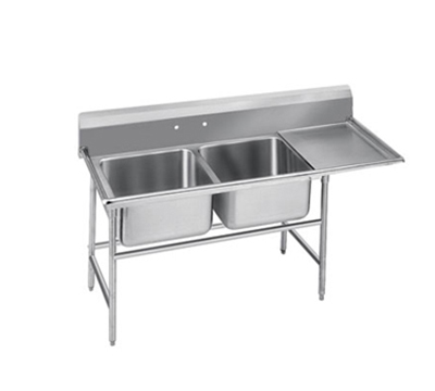 Advance Tabco T9-2-36-18R 58-in Sink w/ (2) 20x16x12-in Bowl & 18-in R Drainboard, Galvanized Frame