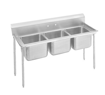 "Advance Tabco 9-63-54 Sink - (3) 24x18x12"" Bowl, 8"" Splash, 18-ga 304-Stainless"