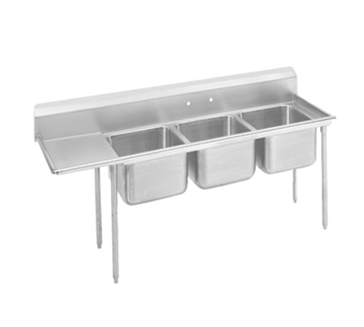 Advance Tabco T9-23-60-18L 89-in Sink w/ (3) 20x20x12-in Bowl & 18-in L Drainboard, Galvanized Frame