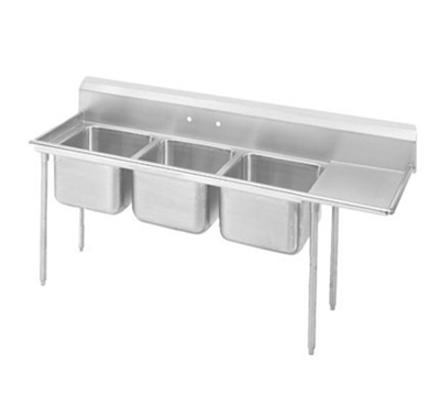 Advance Tabco T9-23-60-18R 89-in Sink w/ (3) 20x20x12-in Bowl & 18-in R Drainboard, Galvanized Frame