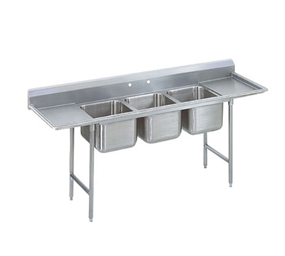 "Advance Tabco 9-3-54-24RL Sink - (3) 20x16x12"" Bowl, 24"" L-R Drainboard, 18-ga 304-Stainless"