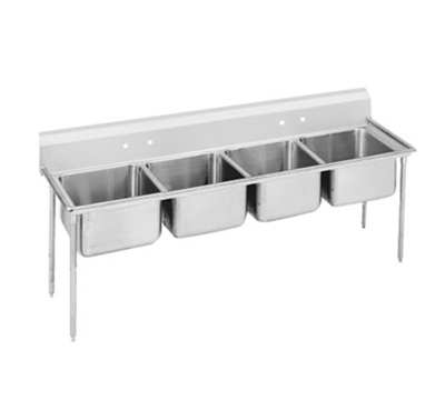 "Advance Tabco 93-84-80 Sink - (4) 28x20x12"" Bowl, 8"" Splash, 16-ga 304-Stainless"
