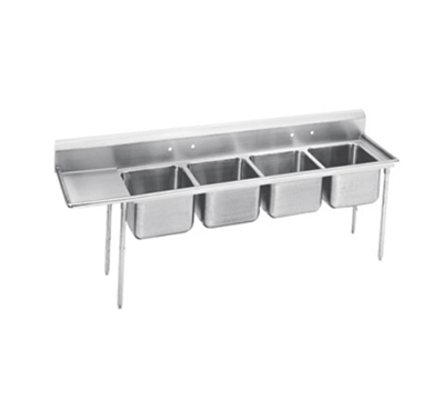 "Advance Tabco 9-24-80-36L Sink - (4) 20x20x12"" Bowl, 36"" Left Drainboard, 18-ga 304-Stainless"