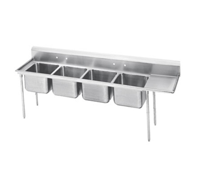 "Advance Tabco 93-4-72-24R Sink - (4) 20x16x12"" Bowl, 24"" Right Drainboard, 16-ga 304-Stainless"