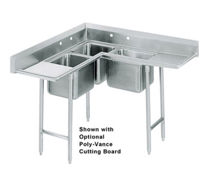 "Advance Tabco 94-K2-24D Corner Sink - (3) 20x20x12"" Bowl, 24"" L-R Drainboard, 16-ga 304-Stainless"