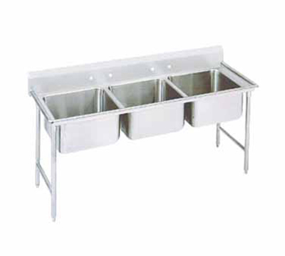"Advance Tabco T9-3-54 62"" Sink - (3) 20x16x12"" Bowl, Galvanized Frame"