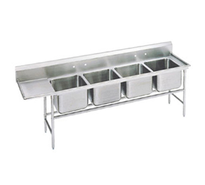 "Advance Tabco 94-44-96-24L Sink - (4) 24x24x14"" Bowl, 24"" Left Drainboard, 14-ga 304-Stainless"