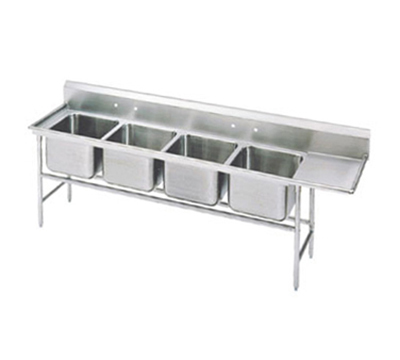 "Advance Tabco 94-44-96-24R Sink - (4) 24x24x14"" Bowl, 24"" Right Drainboard, 14-ga 304-Stainless"
