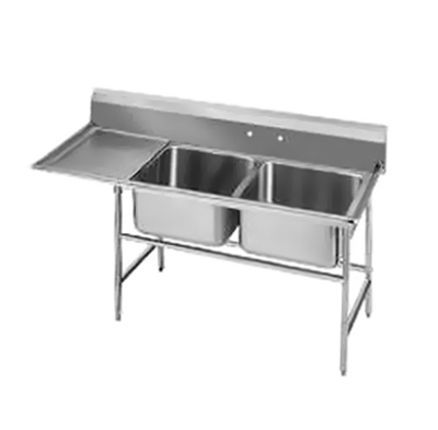 "Advance Tabco 94-62-36-24L Sink - (2) 24x18x14"" Bowl, 24"" Left Drainboard, 14-ga 304-Stainless"