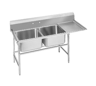 "Advance Tabco 94-22-40-18R Sink - (2) 20x20x14"" Bowl, 18"" Right Drainboard, 14-ga 304-Stainless"
