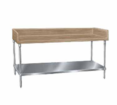 "Advance Tabco BG-366 Bakers Top Work Table - 4"" Splash, Adjustable Undershelf, 36x72"