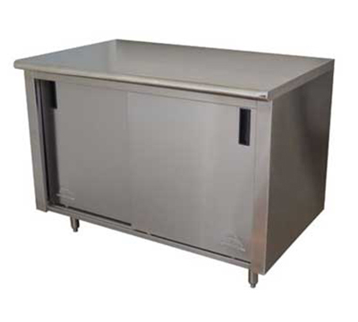 "Advance Tabco CB-SS-306 72"" Work Table - Cabinet Base, Sliding Doors,"