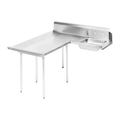"Advance Tabco DTS-D60-96L 95"" L-R Dishlanding Soil Dishtable - 10.5"" Backsplash, Galvanized Legs"