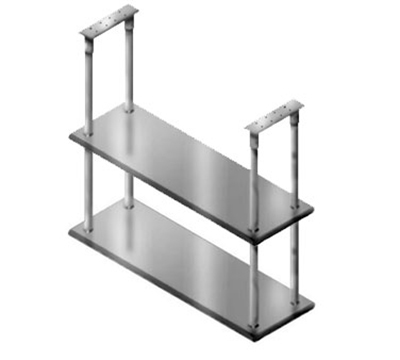 "Advance Tabco DCM-18-36 Ceiling Mount Shelf - Double Deck, 5-lb Load Capacity, 18x36"", Stainless"