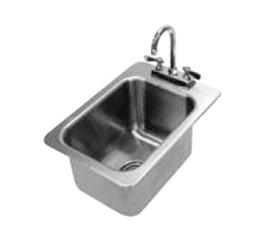 "Advance Tabco DI-1-10 Drop-In Sink - (1) 10x14x10"" Bowl, Deck Mount Gooseneck, 20-ga 304 Stainless"