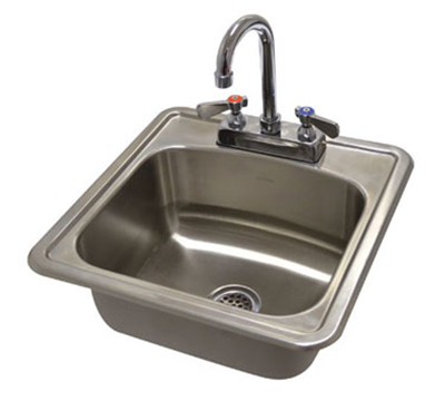 Advance Tabco DI-1-1515 Drop in Sink w/ 12.25x10.25x5.5-in Bowl & Gooseneck Faucet, 20-ga 304-Stainless