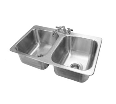 "Advance Tabco DI-2-1410 Drop-In Filler Station - (2) 14x16x10"" Bowl, 18-ga 304 Stainless"