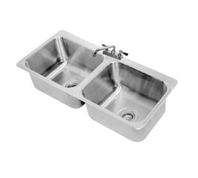 "Advance Tabco DI-2-2012 Drop-In Sink - (2) 20x16x12"" Bowl, Deck Mount Swing Spout, 18-ga 304 Stainless"
